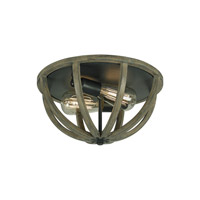Spark & Spruce 20072-WO Ramona 2 Light 13 inch Weather Oak Wood and Antique Forged Iron Flush Mount Ceiling Light