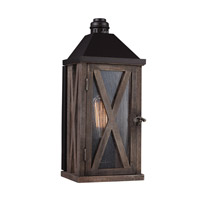 Spark & Spruce 23735-DWCS Stonewall 1 Light 15 inch Dark Weathered Oak and Oil Rubbed Bronze Outdoor Lantern Wall Sconce
