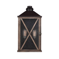 Spark & Spruce 23738-DWCS Stonewall 2 Light 19 inch Dark Weathered Oak and Oil Rubbed Bronze Outdoor Lantern Wall Sconce