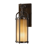 Spark & Spruce 20387-HBAO Galena 1 Light 13 inch Heritage Bronze Outdoor Wall Bracket in Aged Oak Glass
