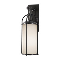 Spark & Spruce 20081-EOE Galena 1 Light 21 inch Espresso Outdoor Wall Sconce in Opal Etched Glass