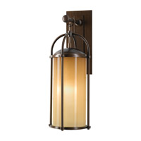 Spark & Spruce 20388-HBAO Galena 1 Light 21 inch Heritage Bronze Outdoor Wall Bracket in Aged Oak Glass