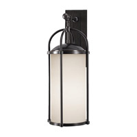 Spark & Spruce 20266-EOE Galena 1 Light 25 inch Espresso Outdoor Wall Sconce in Opal Etched Glass
