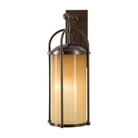 Spark & Spruce 20389-HBAO Galena 1 Light 25 inch Heritage Bronze Outdoor Wall Bracket in Aged Oak Glass