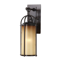Spark & Spruce 20390-HBAO Galena 1 Light 17 inch Heritage Bronze Outdoor Wall Sconce in Aged Oak Glass