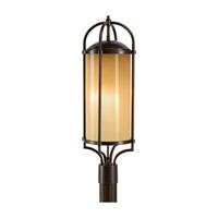 Spark & Spruce 24238-HBAO Galena 3 Light 28 inch Heritage Bronze Post Lantern in Aged Oak Glass