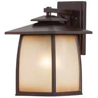 Spark & Spruce 24271-SBSI sumter 1 Light 14 inch Sorrel Brown Outdoor Wall Sconce in Striated Ivory Glass, Standard