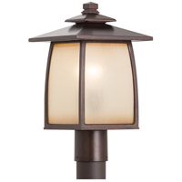 Spark & Spruce 24273-SBSI sumter 1 Light 16 inch Sorrel Brown Post Lantern in Striated Ivory Glass Standard