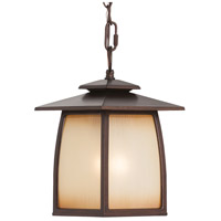 Spark & Spruce 24276-SBSI sumter 1 Light 8 inch Sorrel Brown Outdoor Hanging Lantern in Striated Ivory Glass Standard