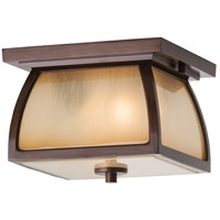 Spark & Spruce 24278-SBSI sumter 2 Light 9 inch Sorrel Brown Outdoor Flush Mount in Striated Ivory Glass Standard