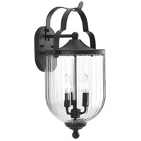 Spark & Spruce 24017-BCRI Cullowhee 3 Light 20 inch Textured Black Outdoor Wall Lantern Large
