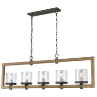 Spark & Spruce 24116-NRCL Kenton LED 55 inch Natural Rope/Grey Brown Rust/Clear Chandelier Ceiling Light
