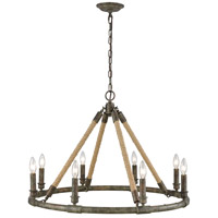 Spark & Spruce 24064-BGAS Covington LED 30 inch Brown Grey Rust with Grey Wash and Natural Rope Chandelier Ceiling Light