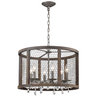 Spark & Spruce 20380-AWC Felicity 6 Light 20 inch Aged Wood with Weathered Zinc Drum Pendant Ceiling Light