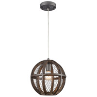 Spark & Spruce 20381-AW Felicity 1 Light 10 inch Aged Wood with Weathered Zinc Mini Pendant Ceiling Light