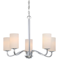 Satco 60/5805 Willow 5 Light 27 inch Polished Nickel Chandelier Ceiling Light