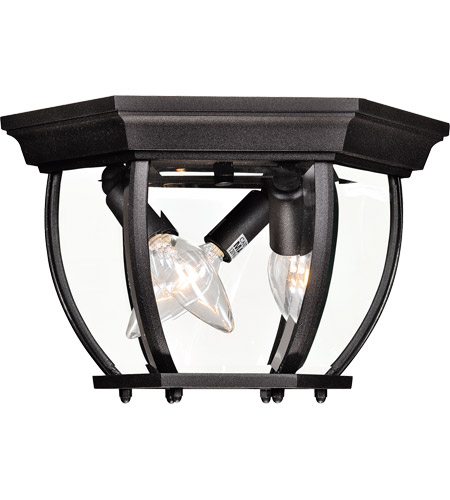 Savoy House 07038-BK Exterior 3 Light 9 inch Black Flush Mount Ceiling Light photo