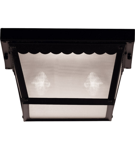 Savoy House 07045-BLK Exterior 2 Light 10 inch Black Flush Mount Ceiling Light in Frosted photo