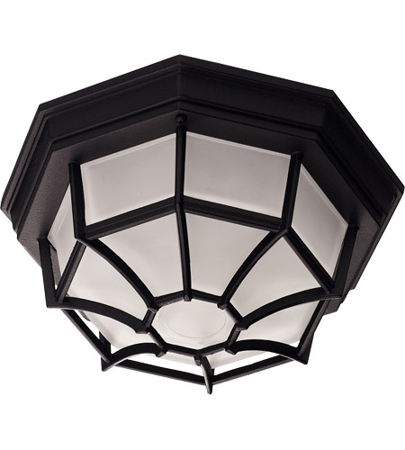Savoy House 07066-BLK Exterior 1 Light 11 inch Black Flush Mount Ceiling Light in Frosted photo
