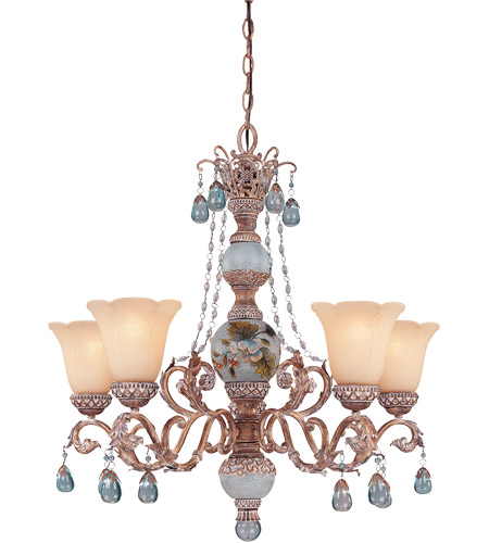 Savoy House Tracy Porter Cerulean 5 Light Chandelier In Cottonwood W Hand Painted Column 1 1170 121