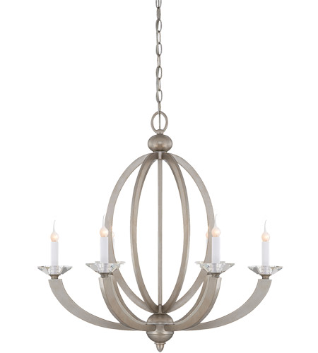 Savoy House 1-1551-6-307 Forum 6 Light 27 inch Silver Sparkle Chandelier Ceiling Light photo