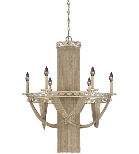 Savoy House Castello 6 Light Chandelier in Silver Sparkle 1-1630-10-307