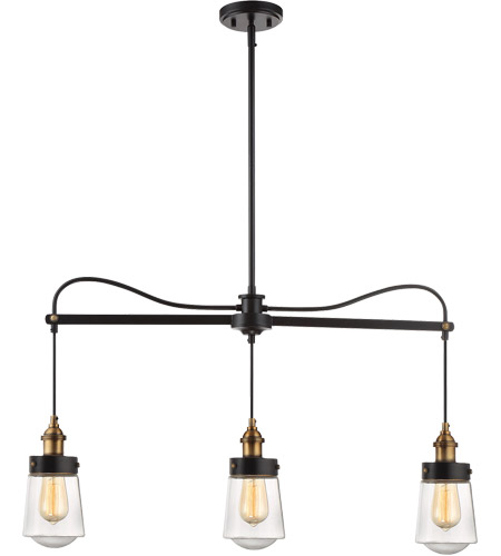 Savoy House 1-2062-3-51 Macauley 3 Light 35 inch Vintage Black with Warm Brass Trestle Ceiling Light photo