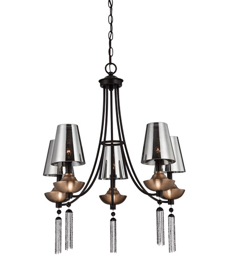 Savoy House Avington 5 Light Chandelier in Ebony with Titian Accents 1-210-5-19