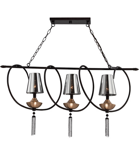 Savoy House Avington 3 Light Island Light in Ebony with Titian Accents 1-212-3-19