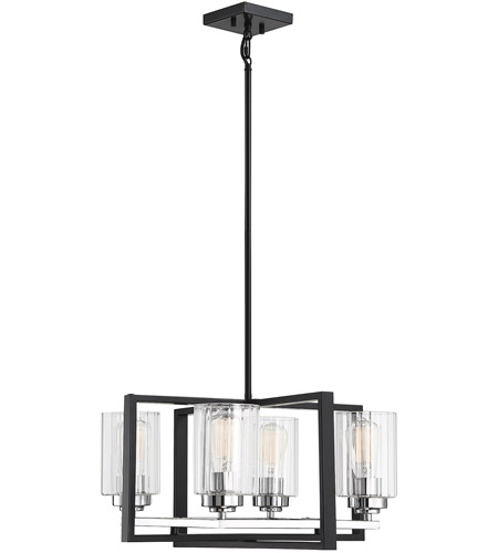 Redmond 4 Light 20 Inch Matte Black With Polished Chrome Accents Chandelier Ceiling