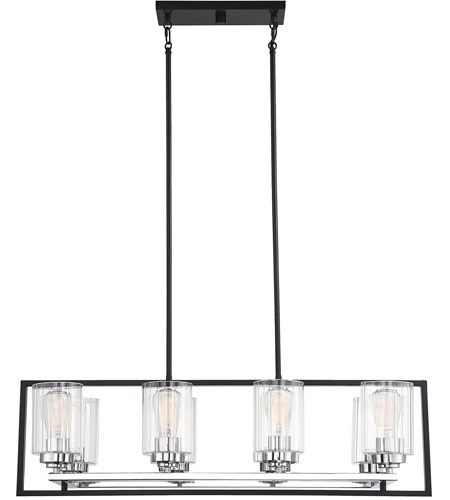 Redmond 8 Light 15 Inch Matte Black With Polished Chrome Accents Chandelier Ceiling