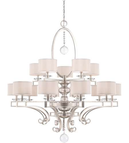 Savoy House Rosendal 15 Light Chandelier in Silver Sparkle 1-254-15-307