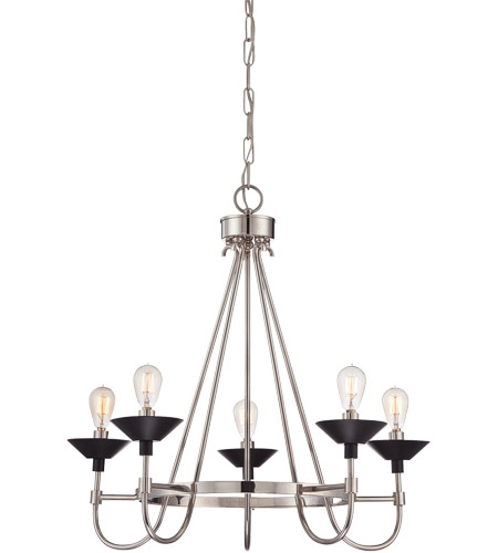 Savoy House Armature 5 Light Chandelier in Polished Nickel with Bronze Accents 1-270-5-20