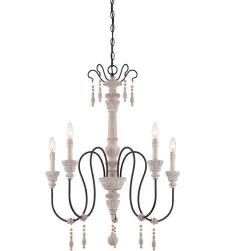 Savoy House Ashland 5 Light Chandelier in White Washed Driftwood 1-290-5-23