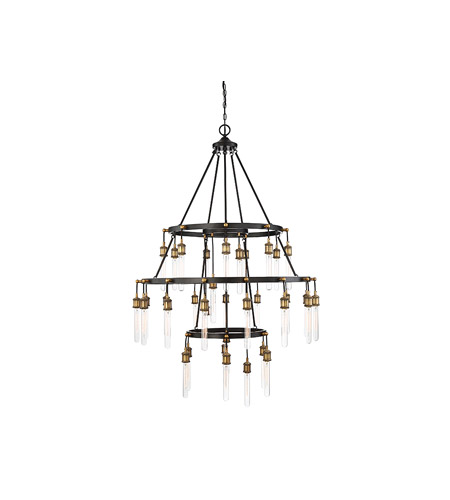 Savoy House 1-2903-35-51 Campbell 35 Light 42 inch Vintage Black with Warm Brass Chandelier Ceiling Light photo