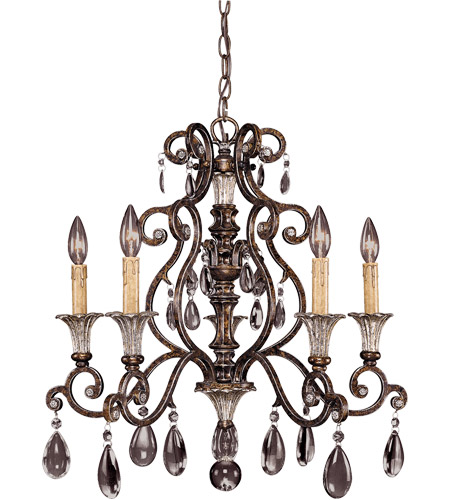 Savoy House St. Laurence 5 Light Chandelier in New Tortoise Shell W/Silver 1-3001-5-8 photo