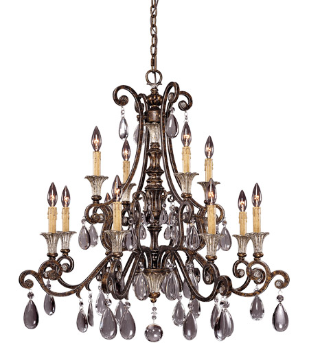 Savoy House St. Laurence 12 Light Chandelier in New Tortoise Shell W/Silver 1-3003-12-8 photo