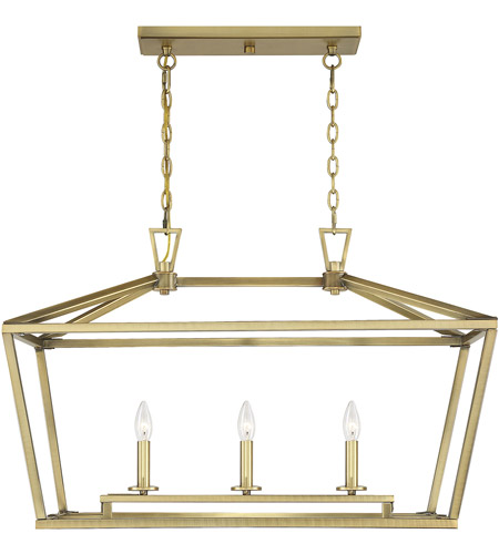 Savoy House 1-323-3-322 Townsend 3 Light 32 inch Warm Brass Linear Chandelier Ceiling Light photo