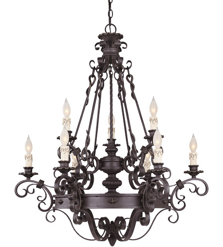 Savoy House Bourges 9 Light Chandelier In Forged Black 1