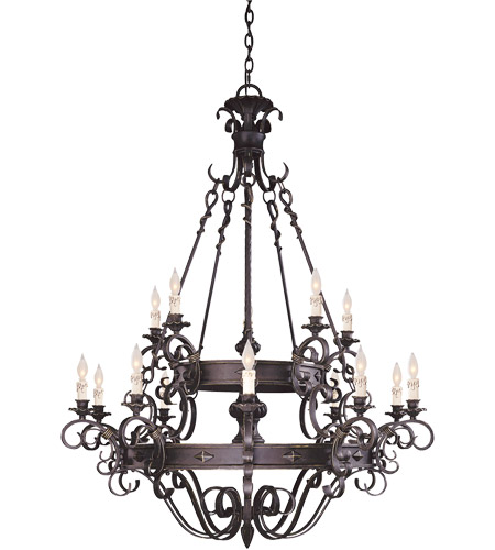 Savoy House Bourges 15 Light Chandelier in Forged Black 1-4321-15-17