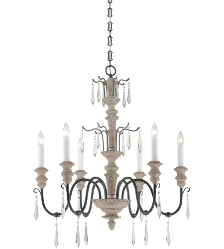 Savoy House 1-4340-6-192 Madeliane 6 Light 28 inch Distressed White Wood/Iron Chandelier Ceiling Light photo