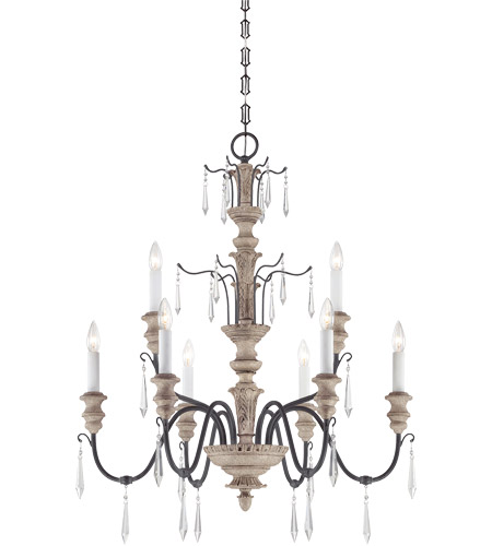 Savoy House 1-4341-9-192 Madeliane 9 Light 31 inch Distressed White Wood and Iron Chandelier Ceiling Light photo