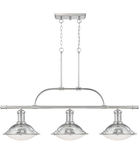 Savoy House 1-4720-3-109 Trestle 3 Light 48 inch Polished Nickel Island Light Ceiling Light in White Opal Etched photo