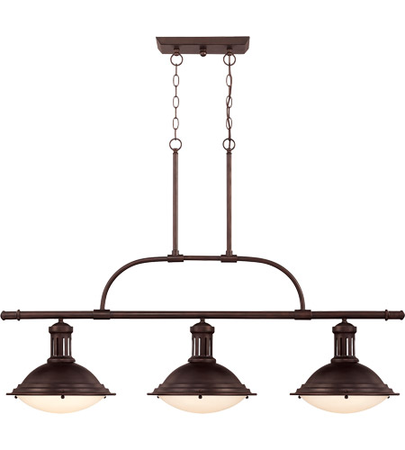 Savoy house 1 4720 3 13 trestle 3 light 48 inch english bronze island light ceiling light in cream opal etched