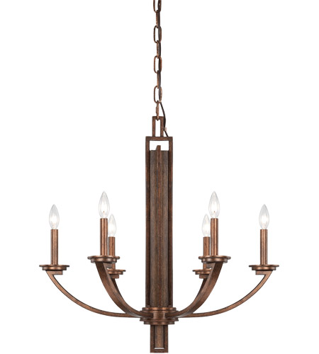 Savoy House Saitama 6 Light Chandelier in Dark Wood and Guilded Bronze 1-5205-6-327