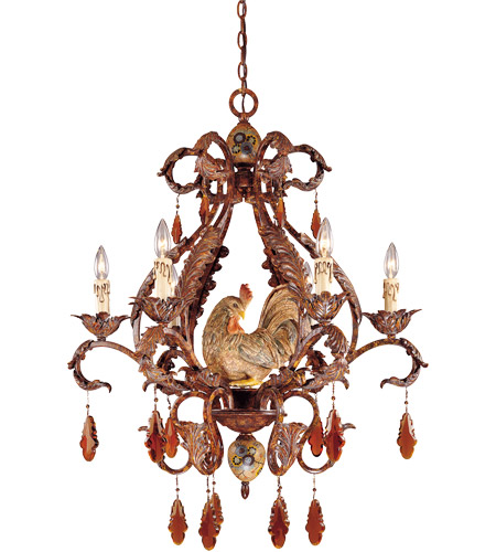 Savoy House Clyde 6 Light Chandelier in Relic Rust w/Hand Painted Accents 1-590-6-125 photo
