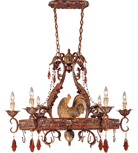 Savoy House Clyde 6 Light Chandelier in Relic Rust w/Hand Painted Accents 1-592-6-125 photo