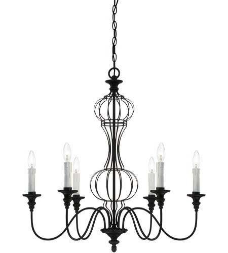 Savoy House Abagail 6 Light Chandelier in Forged Black 1-6010-6-17 photo