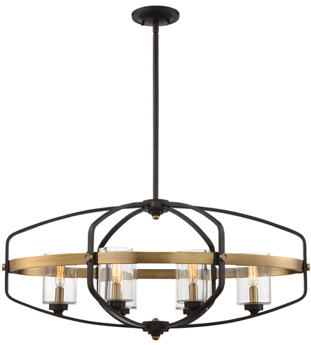 Savoy House 1-8042-6-79 Kirkland 6 Light 32 inch English Bronze and Warm Brass Trestle Ceiling Light photo