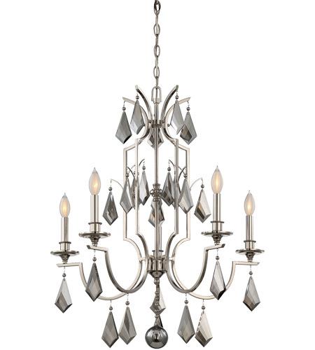 Savoy house 1 875 5 109 ballard 5 light 27 inch polished nickel chandelier ceiling light